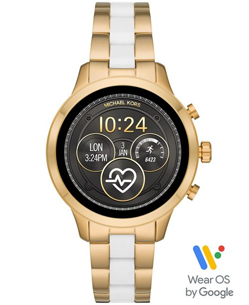 Michael Kors Access Women's Runway Gold-Tone Stainless Steel & White Silicone Bracelet Touchscreen Smart Watch 41mm, Powered by Wear OS by Google™