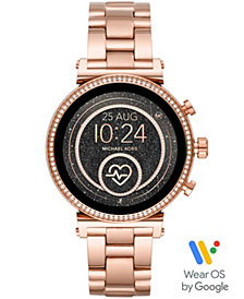 Michael Kors Access Women's Sofie Heart Rate Rose Gold-Tone Stainless Steel Bracelet Touchscreen Smart Watch 41mm, Powered by Wear OS by Google™