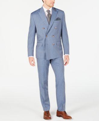 Men's Classic-Fit UltraFlex Stretch Light Blue Pinstripe Suit Pants