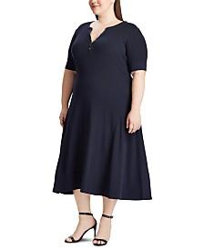 Lauren Ralph Lauren Plus Size Waffle-Knit Cotton Fit & Flare Dress