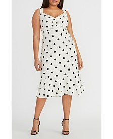 RACHEL Rachel Roy Crepe Back Scuba Polka Dot Midi Dress