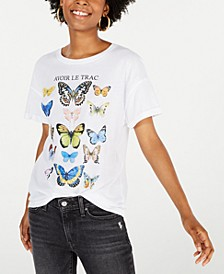 Juniors' Cotton Butterflies Graphic T-Shirt
