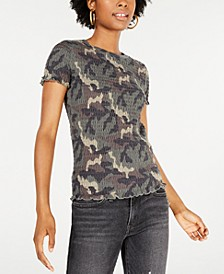 Juniors' Smocked Camo-Print Top