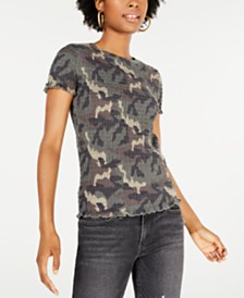 Freshman Juniors' Smocked Camo-Print Top