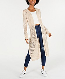 Juniors' Pointelle Open-Front Duster Cardigan