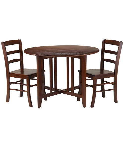 Winsome Wood Alamo 3-Piece Round Drop Leaf Table with 2 Ladder Back Chairs