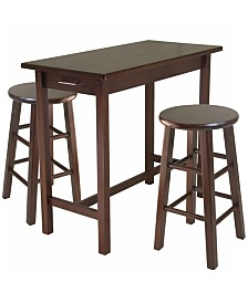 Winsome Wood Sally 3-Piece Breakfast Table Set with 2 Square Leg Stools
