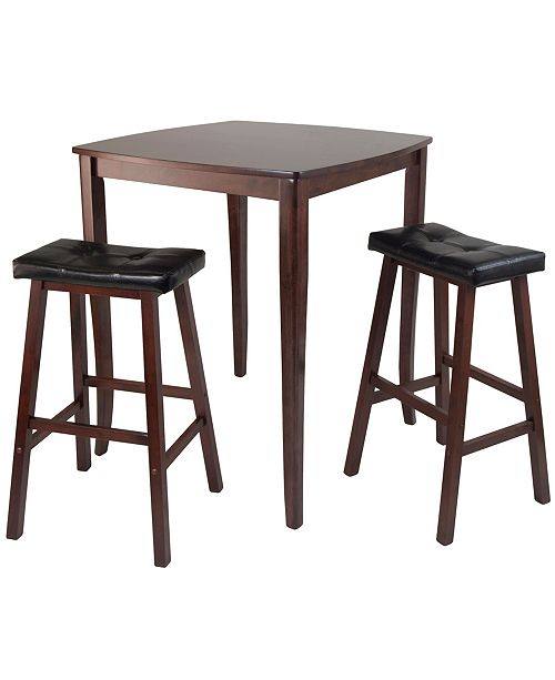 Winsome Wood 3-Piece Inglewood High/Pub Dining Table with Cushioned Saddle Stool