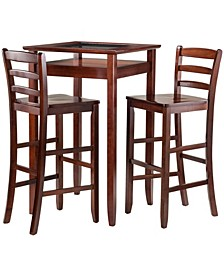 Wood Halo 3-Piece Pub Table Set with 2 Ladder Back Stools