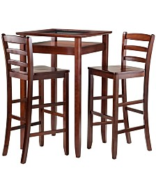 Winsome Wood Halo 3-Piece Pub Table Set with 2 Ladder Back Stools