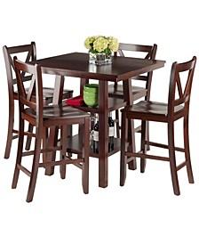 Orlando 5-Piece High Table, 2 Shelves with 4 V-Back Counter Stools Set