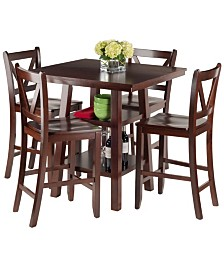 Winsome Wood Orlando 5-Piece High Table, 2 Shelves with 4 V-Back Counter Stools Set
