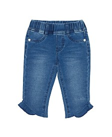 Flapdoodles Little Girls Knit Denim Capri