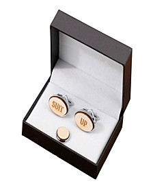 Suit Up Wood Cufflinks and Tie Tack Set