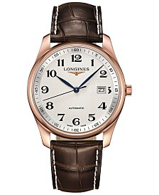 Longines Men's Swiss Automatic Master Collection Brown Alligator Leather Strap Watch 40mm