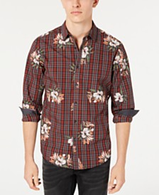 I.N.C. Men's Plaid Floral Shirt, Created for Macy's