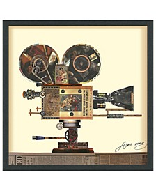 """'Antique Film Projector' Dimensional Collage Wall Art - 25"""" x 25''"""