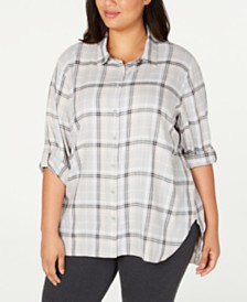 Calvin Klein Plus Size Plaid Boyfriend Shirt