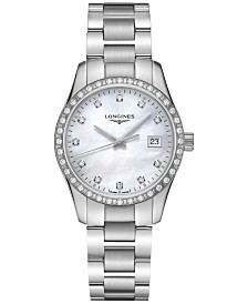 Longines Women's Swiss Conquest Classic Diamond (5/8 ct. t.w.) Stainless Steel Bracelet Watch 34mm