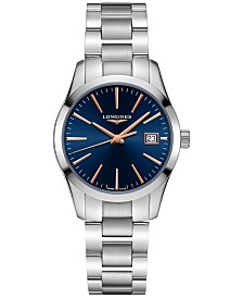 Longines Women's Swiss Conquest Classic Stainless Steel Bracelet Watch 34mm