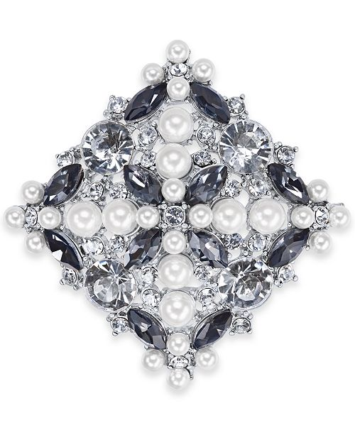 Charter Club Silver-Tone Crystal & Imitation Pearl Pin, Created for Macy's