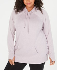 Ideology Plus Size Lace-Up Hooded Sweatshirt, Created for Macy's