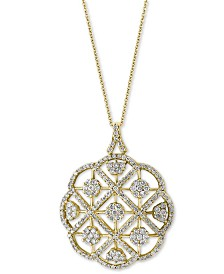 "EFFY® Diamond Pavé Openwork 18"" Pendant Necklace (2-1/10 ct. t.w.) in 14k Gold"