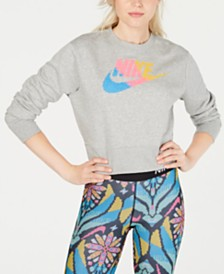 Nike Sportswear Print-Logo Cropped Sweatshirt
