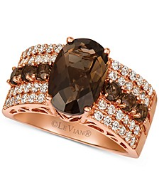 Chocolate Quartz (3-3/4 ct. t.w.) & Nude Diamond (5/8 ct. t.w.) Ring in 14k Rose Gold