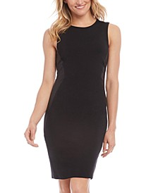 Faux-Leather-Panel Sheath Dress