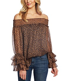 Off-The-Shoulder Leopard Print Blouse