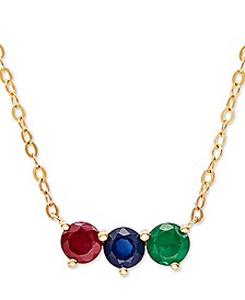 "Multi-Gemstone (1 ct. t.w.) 17"" Pendant Necklace in 14k Gold"