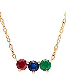 "Multi-Gemstone (1 ct. t.w.) 17"" Pendant Necklace in 14k Gold"