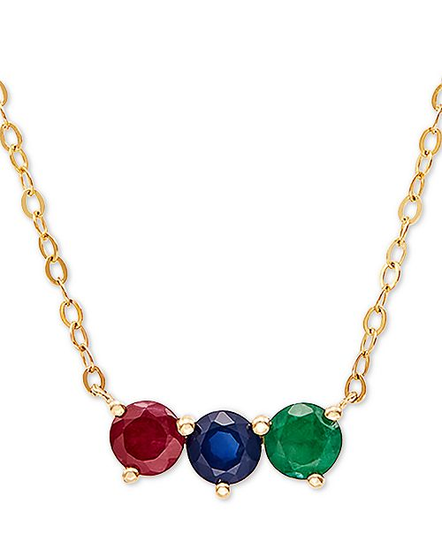 "Macy's Multi-Gemstone (1 ct. t.w.) 17"" Pendant Necklace in 14k Gold"