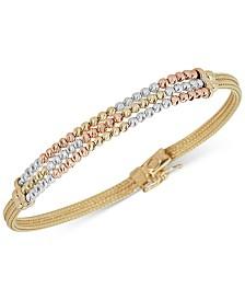 Italian Gold Tricolor Beaded Bracelet in 14k Gold, White Gold & Rose Gold