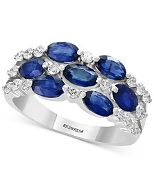 EFFY® Sapphire Cluster (2-1/5 ct. t.w.) & Diamond (3/8 ct. t.w.) Statement Ring in 14k White Gold