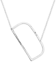 """Silver-Plated Hammered Initial 18"""" Pendant Necklace"""
