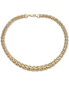 "Italian Gold Woven Braid 18"" Statement Necklace in 14k Gold"