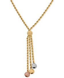 """Tricolor Rope Chain 20"""" Lariat Necklace in 14k Gold, White Gold & Rose Gold"""