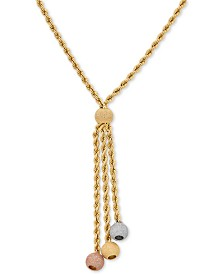 "Italian Gold Tricolor Rope Chain 20"" Lariat Necklace in 14k Gold, White Gold & Rose Gold"