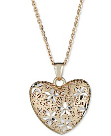 "Two-Tone Filigree Heart 18"" Pendant Necklace in 14k Gold & White Gold"