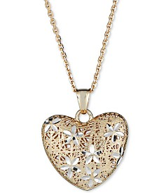 "Italian Gold Two-Tone Filigree Heart 18"" Pendant Necklace in 14k Gold & White Gold"
