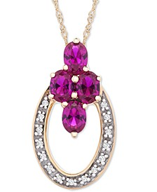 "Certified Ruby (7/8 ct. t.w.) & Diamond Accent 18"" Pendant Necklace in 14k Gold"