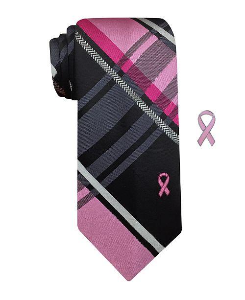 Susan G Komen Men's Plaid With Herringbone Stripe Tie