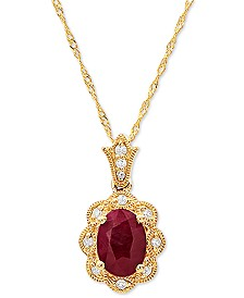 "Certified Ruby (1 ct. t.w) & Diamond Accent 18"" Pendant Necklace in 14k Gold"