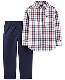 Toddler Boys 2-Pc. Cotton Plaid Shirt & Pants Set