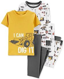 Little & Big Boys 4-Pc. Cotton Dig It Pajama Set