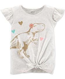 Toddler Girls Dinosaur-Print Tie-Front Cotton T-Shirt