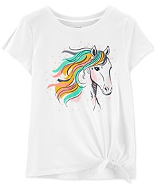 Little & Big Girls Tie-Front Horse-Print Cotton T-Shirt