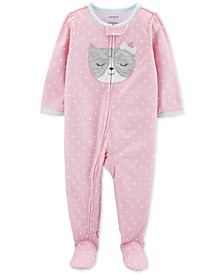 Toddler Girls 1-Pc. Dot-Print Cat Footed Pajamas